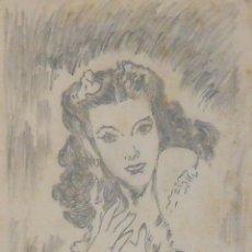 Arte: ALFONSO TUBERT. DIBUJO ORIGINAL A LÁPIZ. MARÍA FÉLIX. 21-6-1947. FIRMADO A MANO. 13,5X10 CM.. Lote 145404998