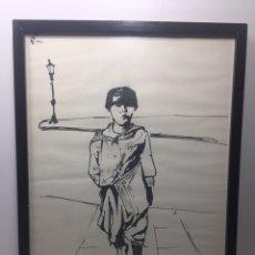 """Arte: DIBUJO """"EL REPARTIDOR DE PERIÓDICOS"""" FIRMADO 47X34CM. Lote 145658510"""