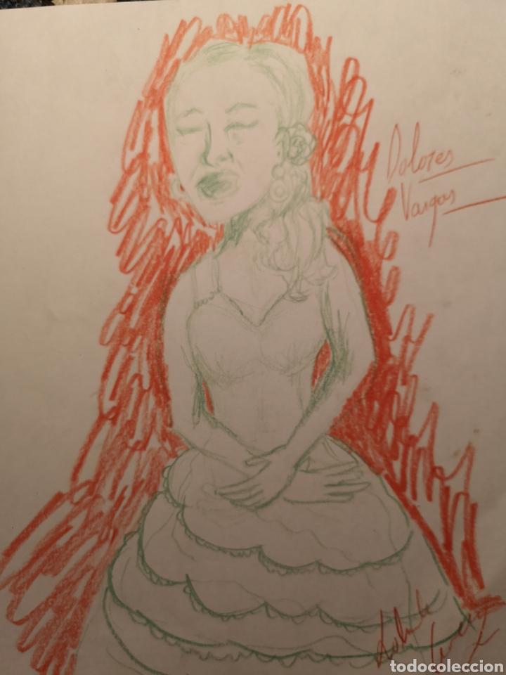 DIBUJO A CERAS, DOS COLORES, DOLORES VARGAS, FIRMADO. (Arte - Dibujos - Contemporáneos siglo XX)