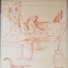 Arte: INTERESANTE DIBUJO LÁPIZ COLOR, FIRMADO (ILEGIBLE).. Lote 145875658