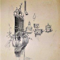 Arte: EL PROCURADOR. DIBUJO A TINTA. FIRMA DESCONOCIDA. ESPAÑA. XIX. Lote 146264082