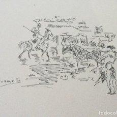 Arte: DIBUJO CON ESCENA TAURINA DE JOAQUÍM TERRUELLA MATILLA (BARCELONA 1891-1957). Lote 146687058
