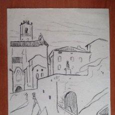 Arte: AURELIO ARTETA. CASAS E IGLESIA.. Lote 146713022