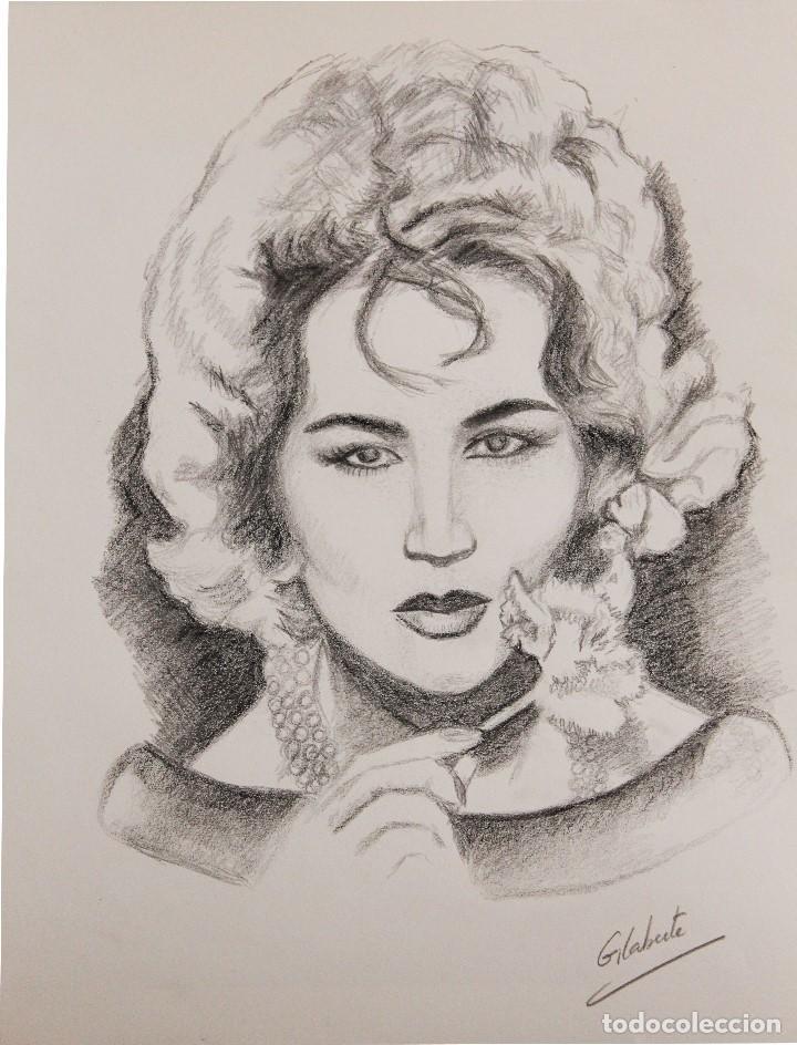 Arte: Mujer con clavel obra de Gilaberte - Foto 2 - 146758950