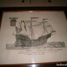Arte: DIBUJO A PLUMILLA DEL GALEÓN ..JAIME 1º EL CONQUISTADOR..SIGLO XIV-XV MARCO DE MADERA (LEER). Lote 146997722