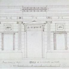 Arte: PROYECTO PARA FACHADA DE EDIFICIO. DIBUJO. TINTA. JOAQUIN CARCERENY. ESPAÑA..1888. Lote 147183734