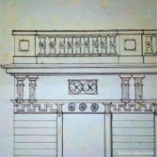 Arte: PROYECTO PARA FACHADA DE EDIFICIO. TINTA SOBRE PAPEL. JOAQUIN CARCERENY. ESPAÑA. XIX-XX. Lote 147193538