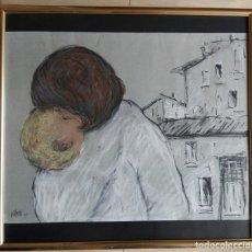 Arte: ANTONI TRULLS PONS - DIBUJO A CERAS ENMARCADO CRISTAL 69 X 64. Lote 147171350