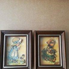 Arte: 2 CUADROS DE MARY MAY EN RELIEVE Y ESMALTADOS AÑOS 70. Lote 147443822