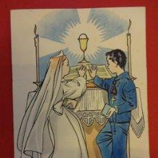 Arte: PRUNES. DIBUJO ORIGINAL 15 X 11 CTMS. PARA ILUSTRAR ESTAMPA RELIGIOSA COMUNION. Lote 147460458