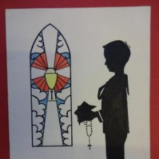 Arte: PRUNES. DIBUJO ORIGINAL 15 X 11 CTMS. PARA ILUSTRAR ESTAMPA RELIGIOSA COMUNION. Lote 147460698