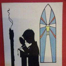 Arte: PRUNES. DIBUJO ORIGINAL 15 X 11 CTMS. PARA ILUSTRAR ESTAMPA RELIGIOSA COMUNION. Lote 147463034