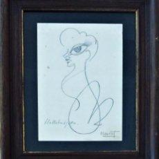 Arte: DIBUJO DE GINA LOLLOBRIGIDA POR EL PINTOR MARCET EN 1950. Lote 147661266