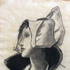 Arte: DIBUJO A CARBONCILLO CON RETRATO FEMENINO DEL PINTOR VICENTE ALEMÁN PADRÓN. Lote 147710226