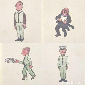 Lote 4 dibujos originales sobre tarjetas de visita Francisco Anglada