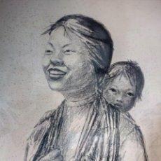 Arte: DIBUJO A CARBONCILLO FIRMADO POR EL PROFESOR G. ROBERT GRAF,MADRE ORIENTAL CON NIÑO A LA ESPALDA.. Lote 147828382