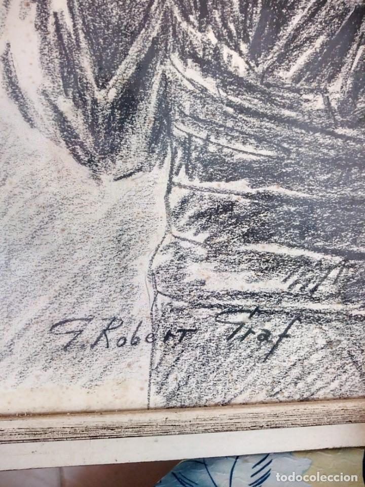 Arte: Dibujo a carboncillo firmado por el profesor g. robert graf,madre oriental con niño a la espalda. - Foto 3 - 147828382