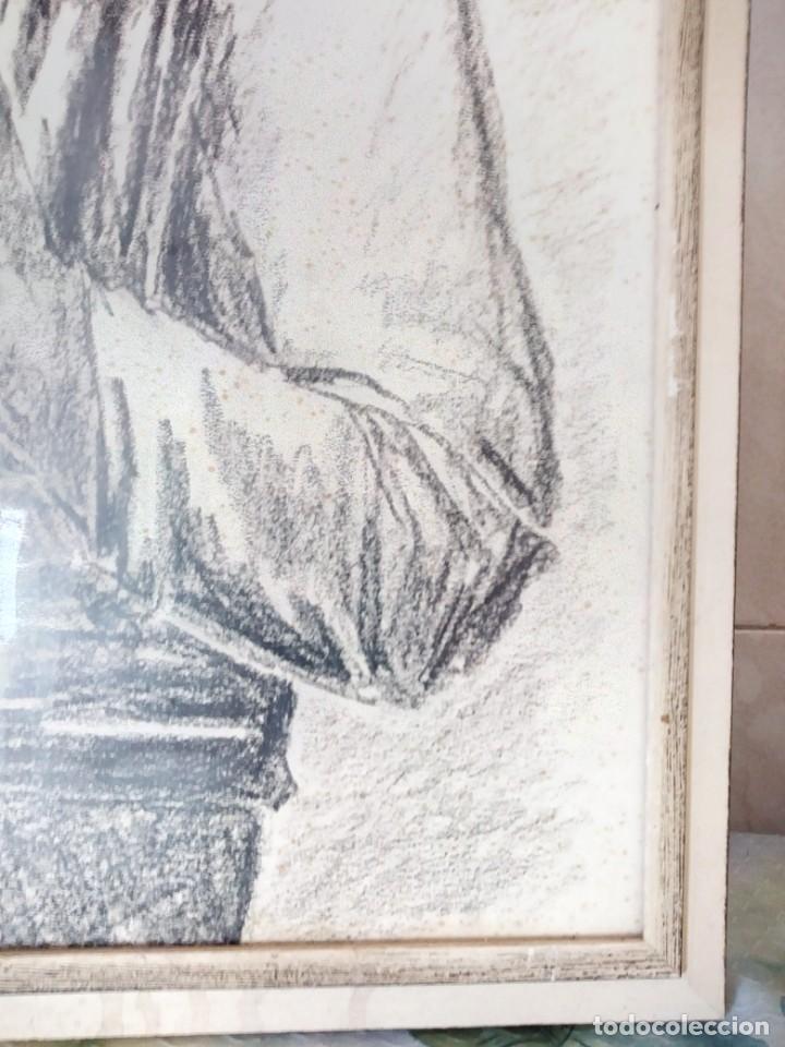 Arte: Dibujo a carboncillo firmado por el profesor g. robert graf,madre oriental con niño a la espalda. - Foto 4 - 147828382