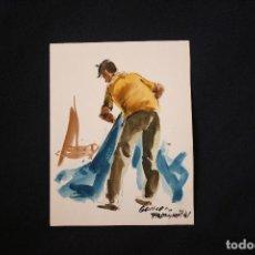 Arte: GUILLEM FRESQUET,(1914-1991) EXCELENTE ACUARELA REPRESENTANDO UN PESCADOR. Lote 147830486
