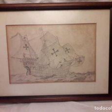 Arte: DIBUJO A CARBÓN CARABELA SANTA MARÍA. Lote 147863110