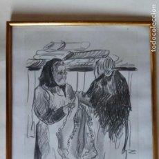 Arte: DIBUJO A CARBON ABUELAS FIRMADO 1989. Lote 148010998