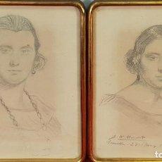 Arte: PAREJA DE RETRATOS DE DAMAS. DIBUJOS AL GRAFITO. J.M. MANENT. SIGLO XIX-XX. . Lote 148136178