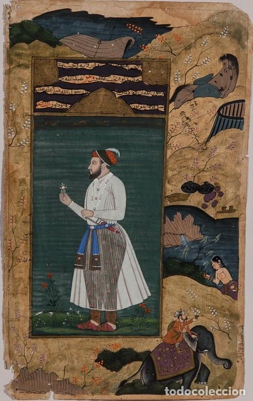 PÁGINA ILUMINADA INDIA. SIGLO XVIII. FIRMADA (Arte - Dibujos - Antiguos hasta el siglo XVIII)