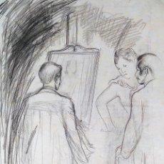 Arte: EL ARTISTA PINTANDO. DIBUJO. CARBONCILLO SOBRE PAPEL. ATRIB. FRANCESC DOMINGO. BRASIL(?). 1950. Lote 148180894