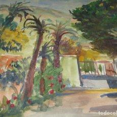 Arte: GRAN ACUJARELA ANTIGUA PALMERAS ENTRADA A CASERON PROCEDENCIA ALICANTE. Lote 174151612