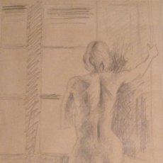 Arte: JOAN BOSCO MARTI (VALENCIA 1934) DIBUJO LAPIZ SOBRE PAPEL FIGURA FIRMADO Y FECHADO EN 1973. Lote 148564434