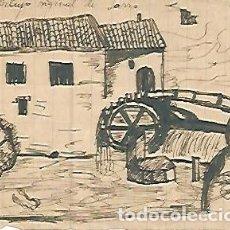 Arte: DIBUJO 3662: DIBUJO BOCETO EN LAPIZ. MOLINO DE AGUA. Lote 57901843