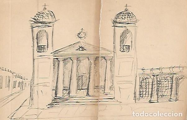 DIBUJO 3663: DIBUJO BOCETO EN LAPIZ. IGLESIA (Arte - Dibujos - Contemporáneos siglo XX)