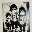 Arte: GRAN DIBUJO A TINTA VINTAGE NIÑOS 60.. Lote 148856198