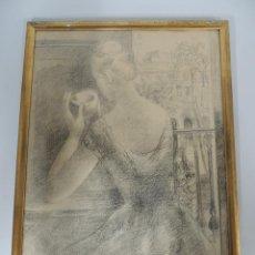 Arte: CUADRO DE PEDRO PRUNA (1904-1977) MUJER LAPIZ. Lote 148897110