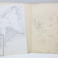 Arte: 2 DIBUJOS ORIGINALES A LÁPIZ DEL PINTOR MOLINER - BAILARINA DE BALLET / CENA - TERRASSA, AÑO 1978. Lote 149106538