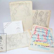 Arte: CONJUNTO DE 4 DIBUJOS ORIGINALES Y DÍPTICO DE JORDI MARAGALL I MIRA - AÑOS 70 - FIRMADOS. Lote 149133558