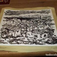Arte: FABULOSO DIBUJO ORIGINAL DE UN PUEBLO DE MALLORCA EN TINTA CON TÉCNICA DE RASPADO DE SCHALL 1967.. Lote 149180798