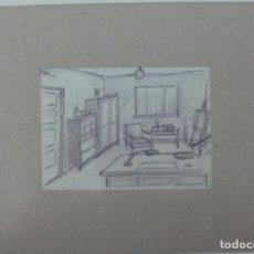 Arte: 3 DIBUJOS ORIGINALES DE INTERIOR B/N. Lote 149824438