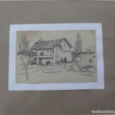 Arte: 3 DIBUJOS ORIGINALES EXTERIORES RURALES. Lote 149826302