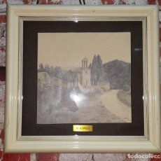 Arte: DIBUJO A LAPIZ ERMITA - FIRMADO R. LORES. Lote 149931650