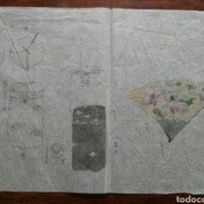Arte: DIBUJOS, BOCETOS JAPONESES. EPOCA MEIJI. 1863-1912.FIRMADOS. ABANICO. ENVIO CERTIFICADO INCLUIDO. Lote 149940788