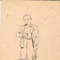 Art: CUATRO DIBUJOS A PLUMILLA DE UN NIÑO PERSIGNÁNDOSE - AÑOS 1920. Lote 149948402