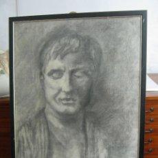 Arte: DIBUJO A CARBON FIRMADO - RETRATO MASCULINO - ENMARCADO. Lote 150684622