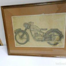 Arte: DIBUJO A LÁPIZ ORIGINAL 1949 MOTO JAWA ENMARCADO - MOTOCICLETA MOTOCICLISMO - NO MONTESA BULTACO. Lote 150726966
