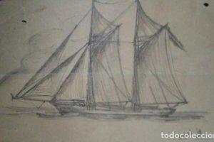 1941 Barco de vela sobre papel muy fino. Dibujo original firmado