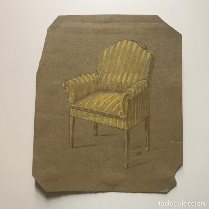 Original a lápiz mueble antiguo 16,2x19,8 cm