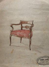 Original mueble antiguo. Sello taller de ebanistería y tapicería R. Llimós. 19,2x21,9 cm