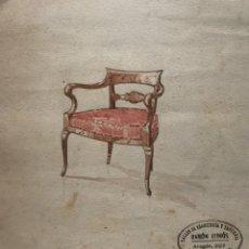 Arte: ORIGINAL MUEBLE ANTIGUO. SELLO TALLER DE EBANISTERÍA Y TAPICERÍA R. LLIMÓS. 19,2X21,9 CM. Lote 182138736