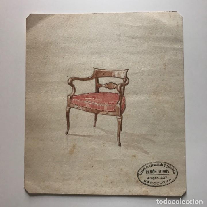 Original mueble antiguo. Sello taller de ebanistería y tapicería R. Llimós. 19,2x21,9 cm - 182138736