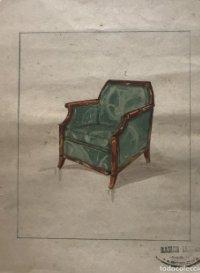 Original mueble antiguo. Sello taller de ebanistería y tapicería R. Llimós. 20,8x25,8 cm